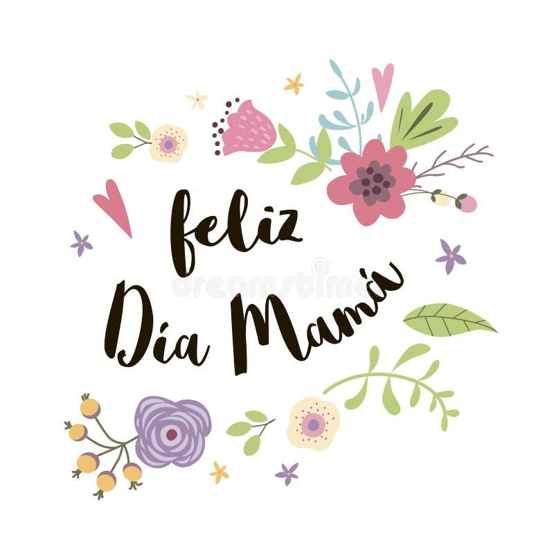 Цветки поздравительной открытки вектора дня матери украшенные нарисованные рукой милые вручают вычерченное помечая буквами назван иллюстрация вектора