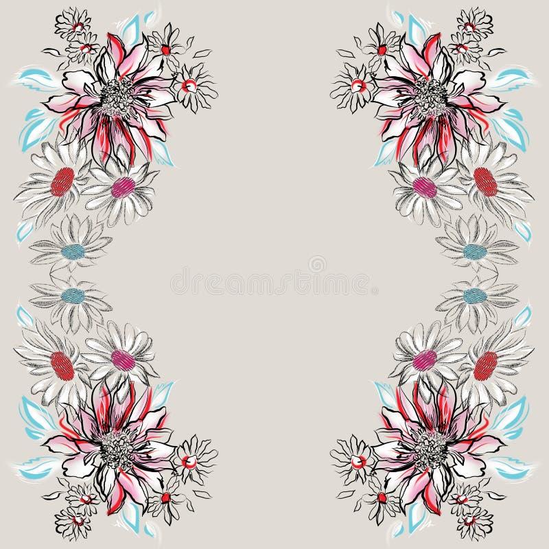 Цветки, покрашенный черный план на серой предпосылке стоковые изображения rf