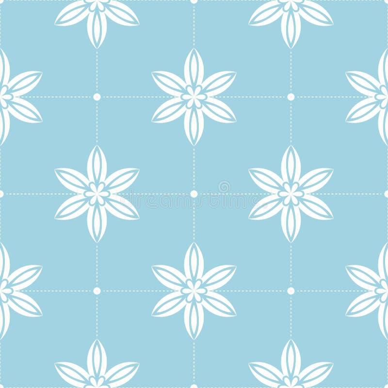 цветки предпосылки голубые белые Орнаментальная безшовная картина иллюстрация штока