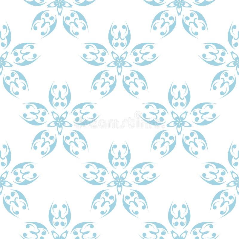 цветки предпосылки голубые белые Орнаментальная безшовная картина иллюстрация вектора