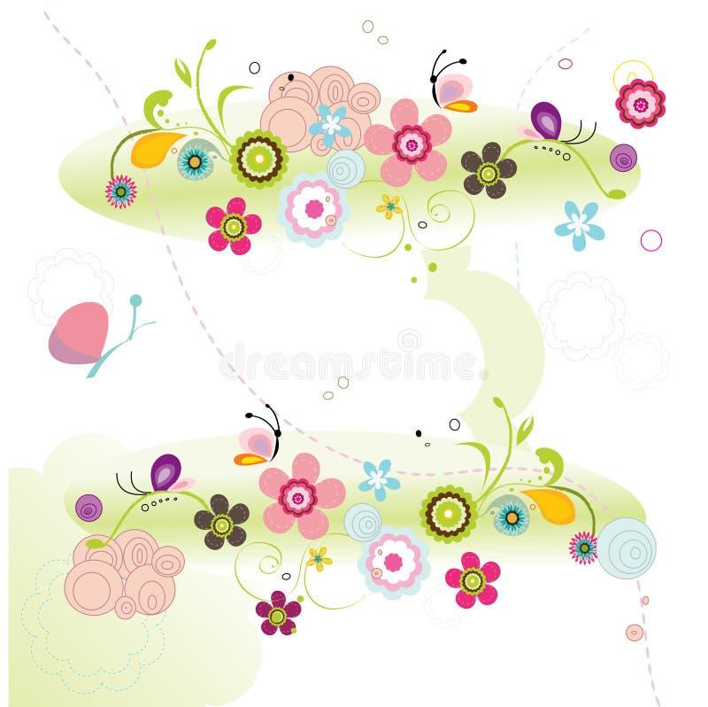 цветки предпосылки цветастые иллюстрация вектора