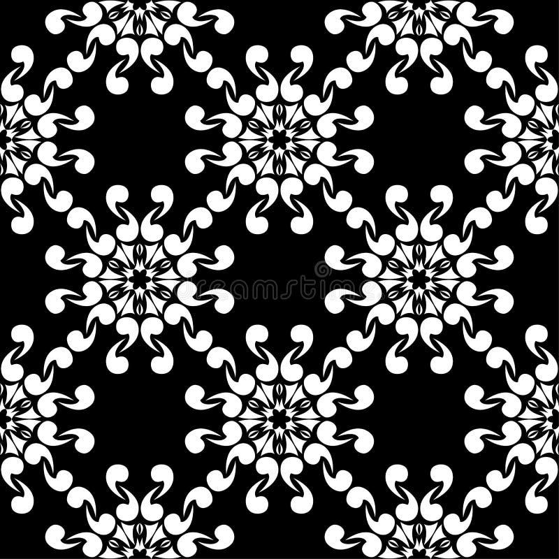 цветки предпосылки черные белые Орнаментальная безшовная картина иллюстрация штока