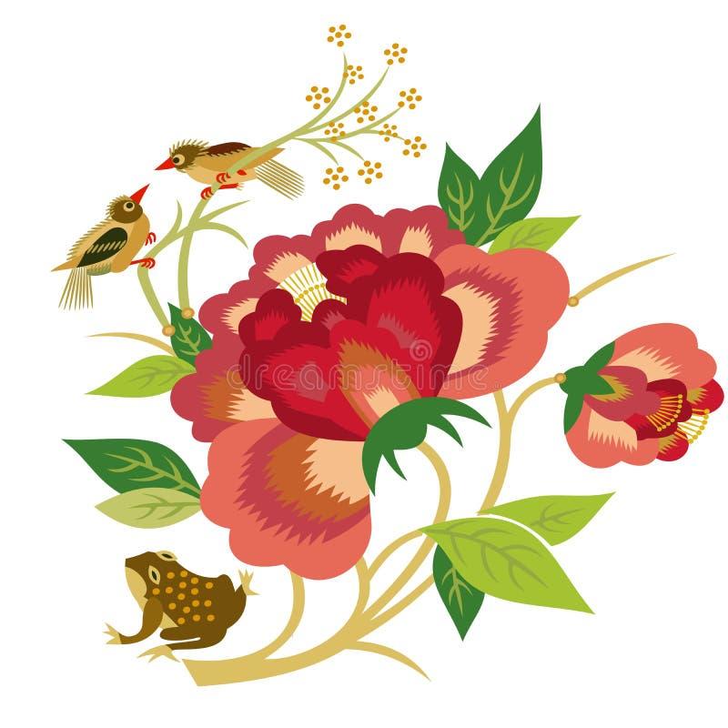 цветки птиц иллюстрация вектора