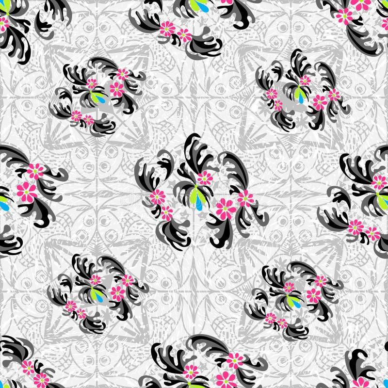 Цветки резюмируют безшовную предпосылку влияния grunge картины вектора иллюстрация штока