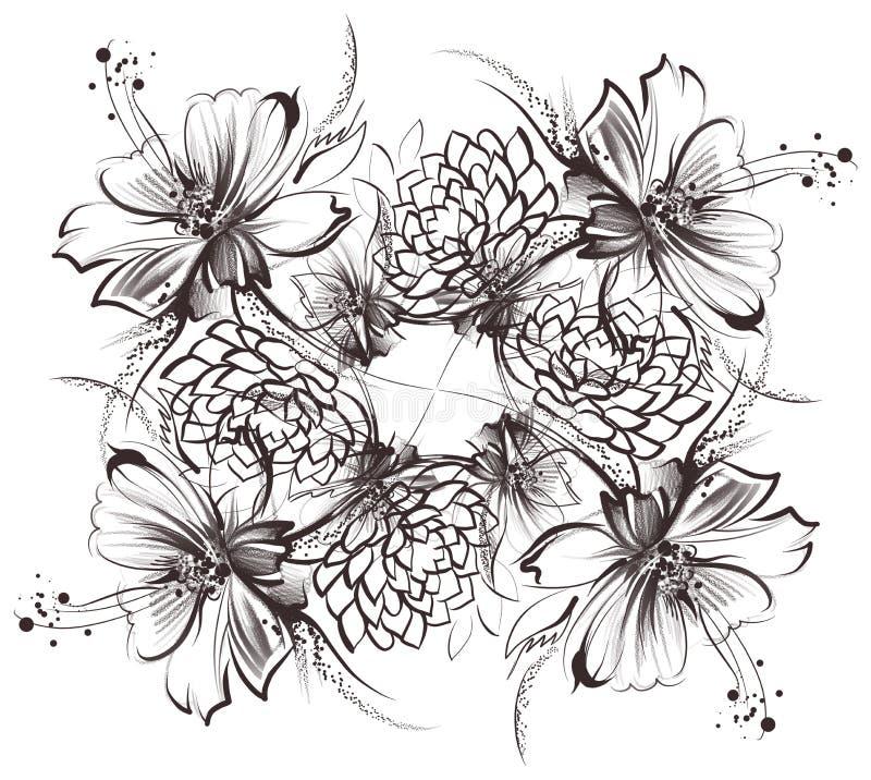 Цветки, рисующ с простыми карандашем и углем на старой белой бумаге стоковые фотографии rf