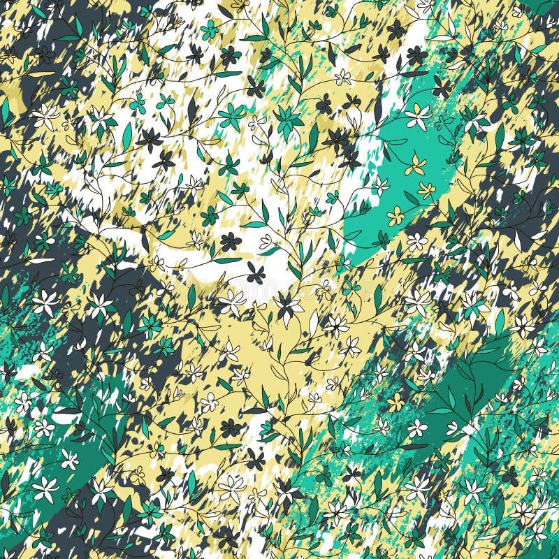 Цветки руки вычерченные небольшие на текстурированной предпосылке с чертами, ходами, брызгают и пятнают иллюстрация штока