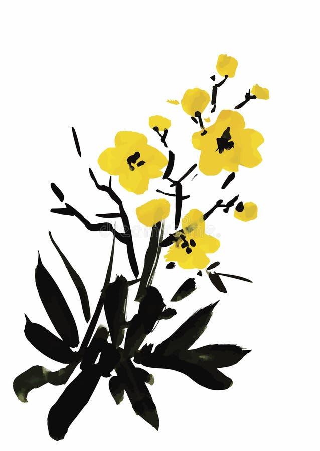 Цветки сада акварели изолированные на белой предпосылке, иллюстрации вектора японского стиля иллюстрация вектора