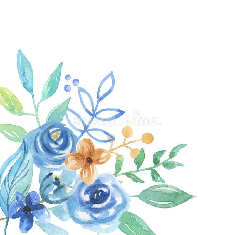 Цветки свадьбы расположения листьев ягод флористического букета акварели голубые угловые бесплатная иллюстрация