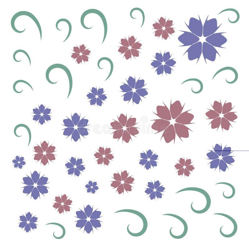 Цветки света - голубые и розовые с зелеными тонкими скручиваемостями бесплатная иллюстрация