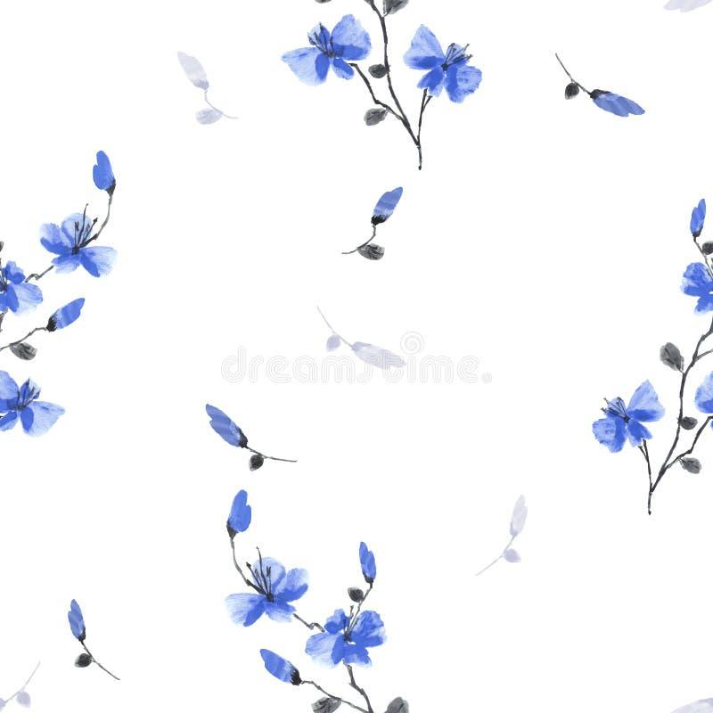 Цветки сливы вишни безшовной картины небольшие дикие голубые на белой предпосылке r иллюстрация штока