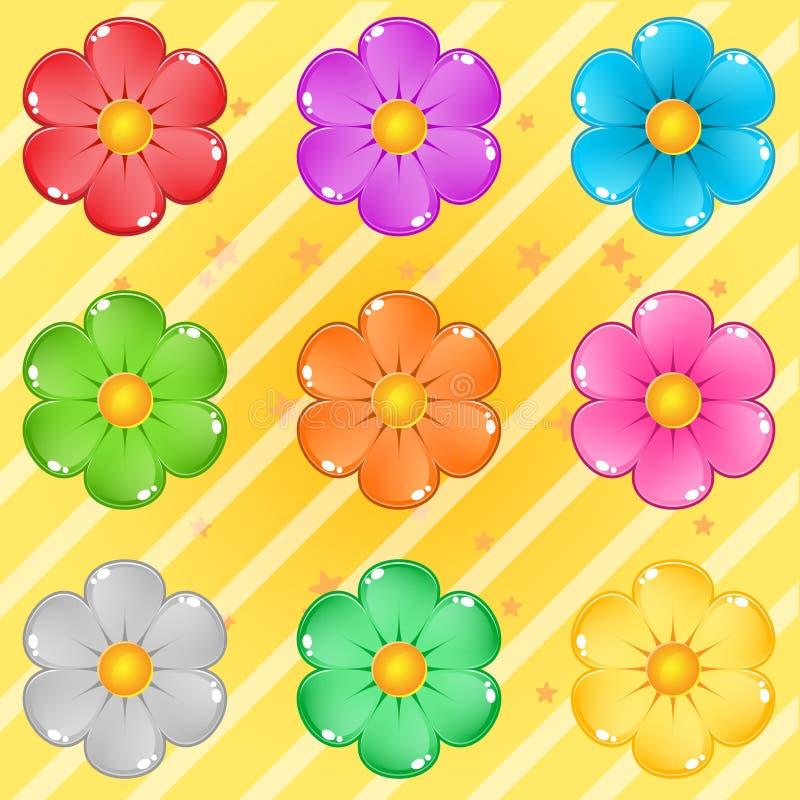 Цветки собрания озадачивают милый мультфильм лоснистый в других цветах бесплатная иллюстрация