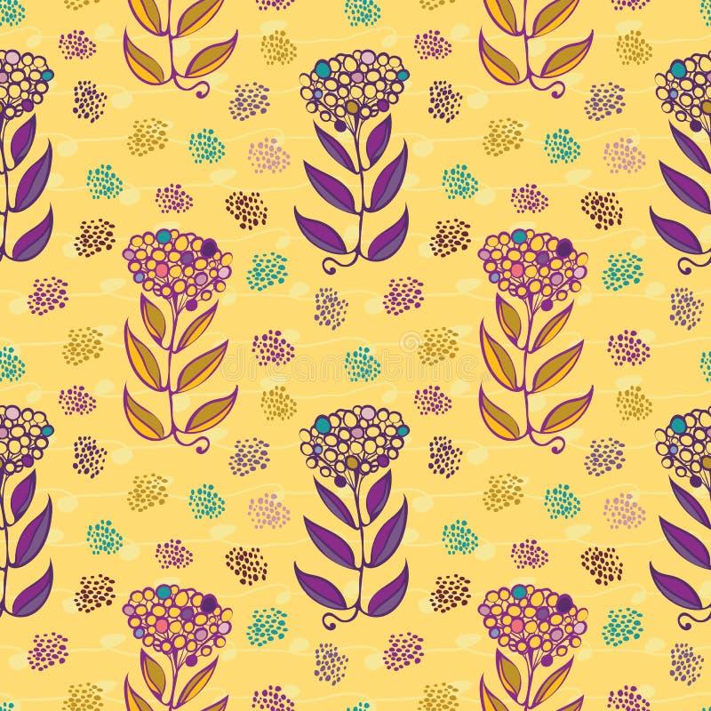 Цветки стильной руки вычерченные абстрактные с краской малюют и тонкие линии doodle Безшовная картина повторения вектора на желто иллюстрация штока