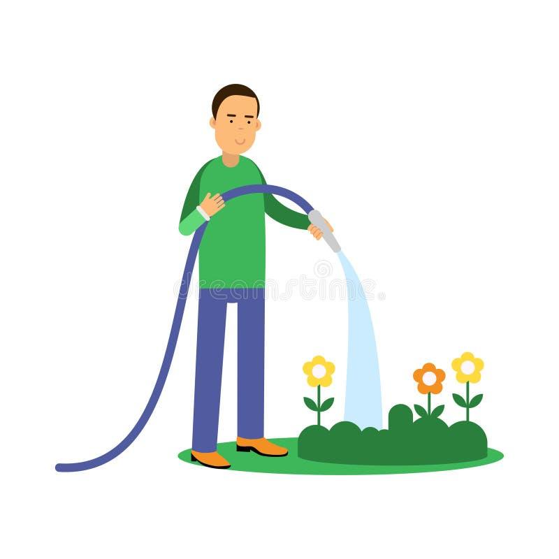 Цветки счастливого персонажа из мультфильма человека моча от шланга, экологической концепции образа жизни бесплатная иллюстрация
