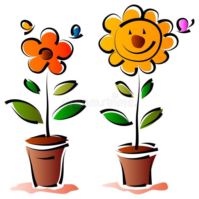 Цветки с бабочкой иллюстрация вектора