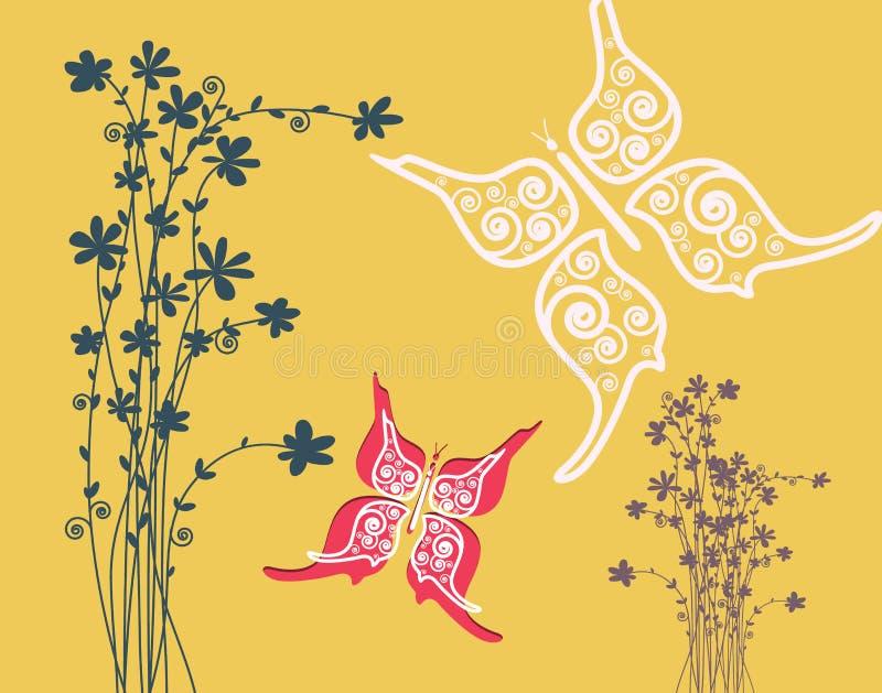 Цветки с предпосылкой дизайна бумажного отрезка бабочек плоской иллюстрация штока