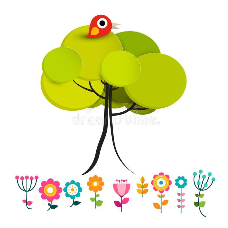 Цветки с птицей на векторе дерева иллюстрация вектора