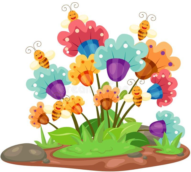 Цветки с пчелами иллюстрация штока
