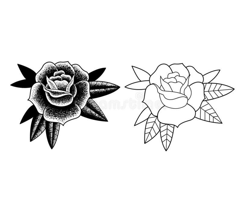 Цветки татуировки установили работу точки иллюстрация штока