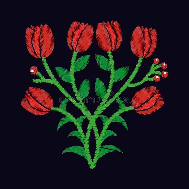 Цветки тюльпана элегантной вышивки декоративные конструируют флористический стиль иллюстрация вектора
