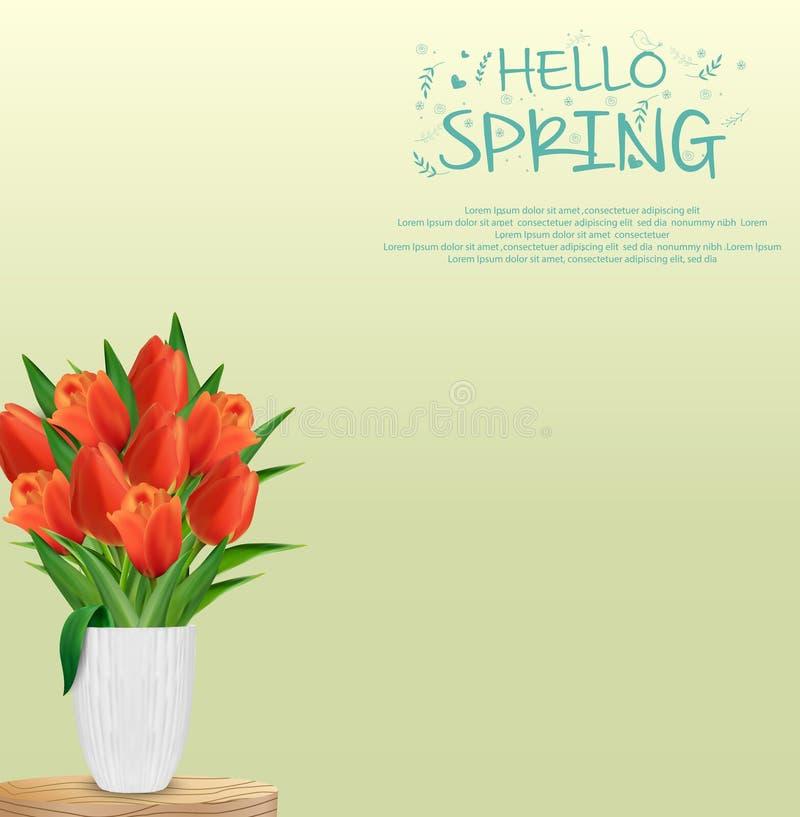 Цветки тюльпанов в стеклянной вазе иллюстрация штока