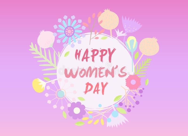 Цветки украсили карточку для счастливого торжества Международного женского дня стоковые изображения rf