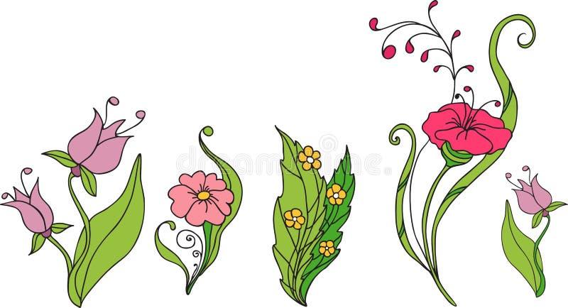 Цветки флористического набора различные для дизайна иллюстрация штока