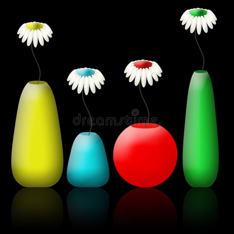 цветки цвета camomiles установили вазы иллюстрация вектора