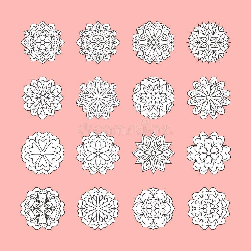 Цветки Doodle белые установленные на розовую предпосылку Красивые элементы флористического дизайна для карточки свадьбы Фон Zenta иллюстрация вектора