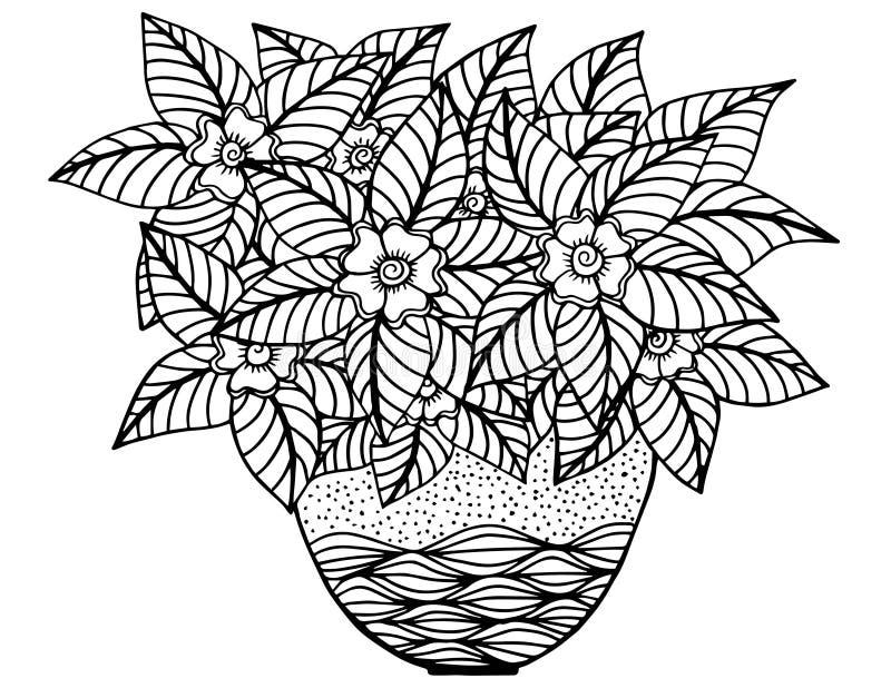 Цветки Doodle и ваза Цветочный узор, чертеж руки бесплатная иллюстрация
