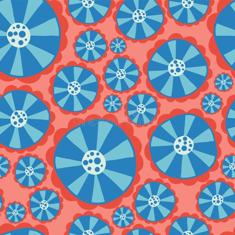 Цветки Hippie Предпосылка вектора силы цветка безшовная Голубые и красные абстрактные цветки на розовой предпосылке Ретро флорист иллюстрация вектора