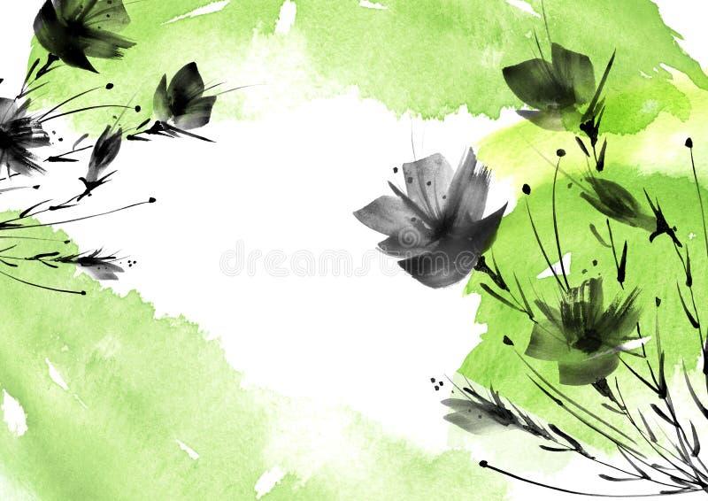 Цветки Ild, поле, сад - лилия, маки силуэта, розы иллюстрация штока