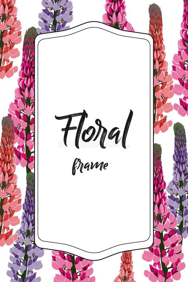 Цветки Lupines, можно использовать как поздравительная открытка, карточка приглашения для wedding, день рождения и другие праздни бесплатная иллюстрация