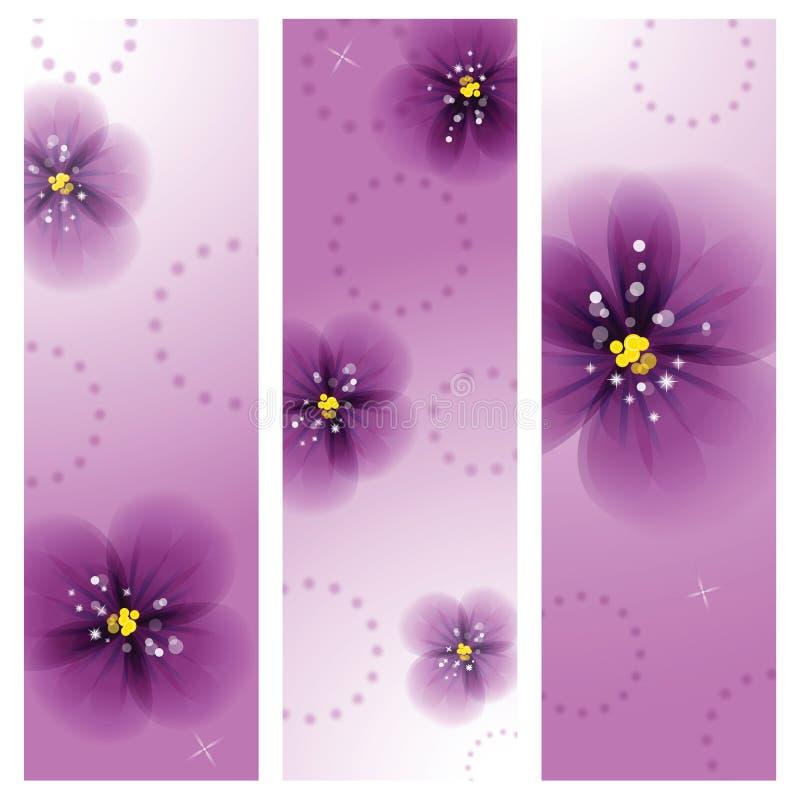 Цветки Pansy на поздравительной открытке иллюстрация вектора