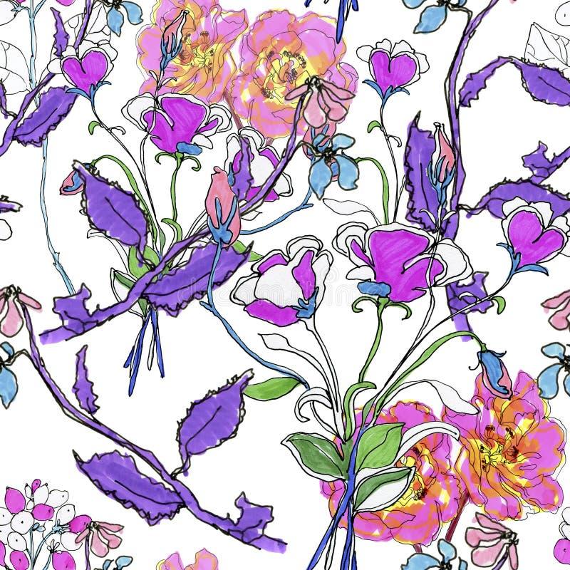 Цветки Watercolour Безшовная предпосылка бесплатная иллюстрация