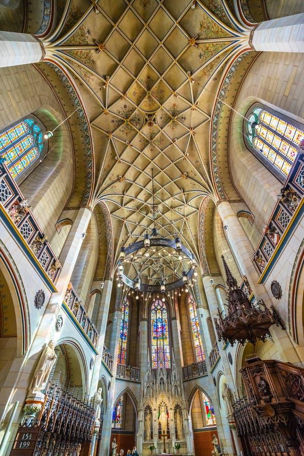 Цветное стекло базилики вся церковь Schlosskirche Wittenberg Германия замка Святых стоковое фото rf