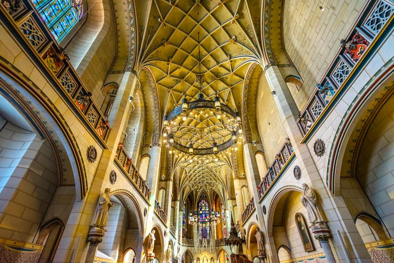 Цветное стекло базилики вся церковь Schlosskirche Wittenberg Германия замка Святых стоковые фотографии rf