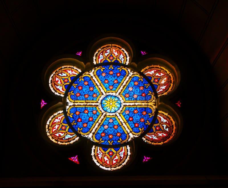 Цветное стекло вся церковь Schlosskirche Wittenberg замка Святых стоковые изображения rf
