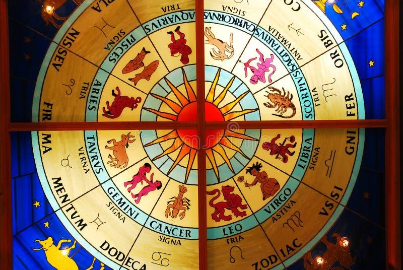 Цветное стекло зодиака стоковое изображение