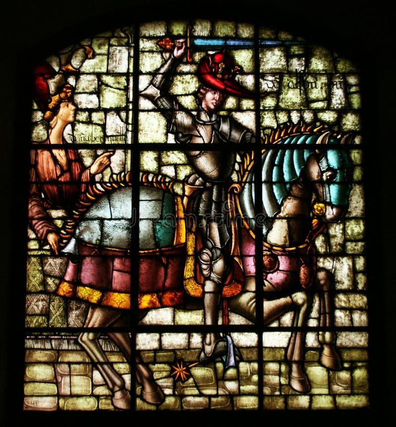 Цветное стекло короля Альфонс VIII из Кастилии. стоковая фотография rf