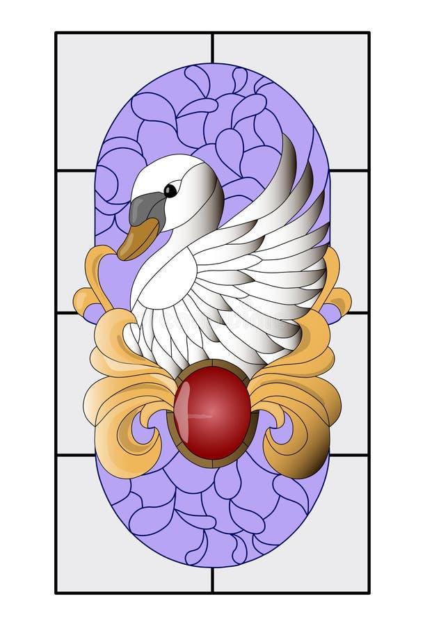 Цветное стекло лебедя, картина мозаики с красным шкентелем, кривые золота и фиолетовая предпосылка бесплатная иллюстрация