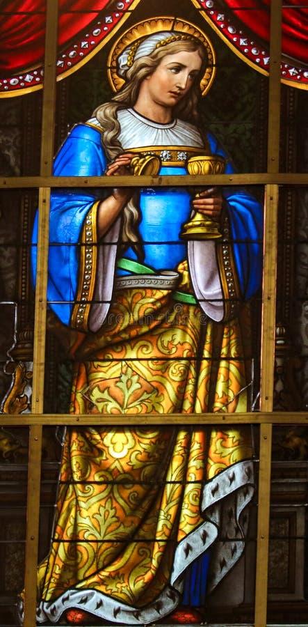 Цветное стекло - иносказание на страдании Иисуса стоковое фото
