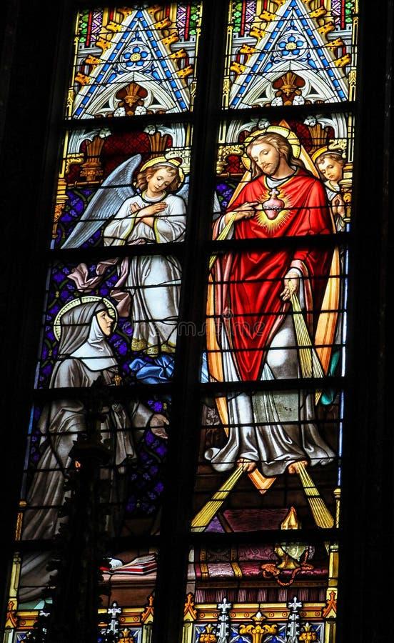 Цветное стекло священного сердца Иисуса в соборе Bosch вертепа стоковые фотографии rf