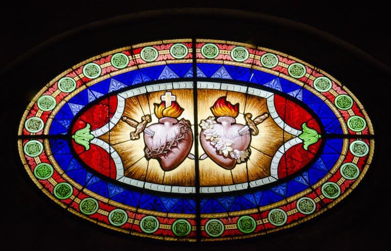 Цветное стекло священного сердца стоковые изображения rf