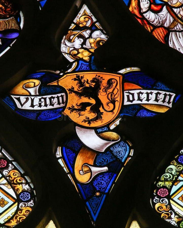 Цветное стекло - фламандский лев стоковые фотографии rf