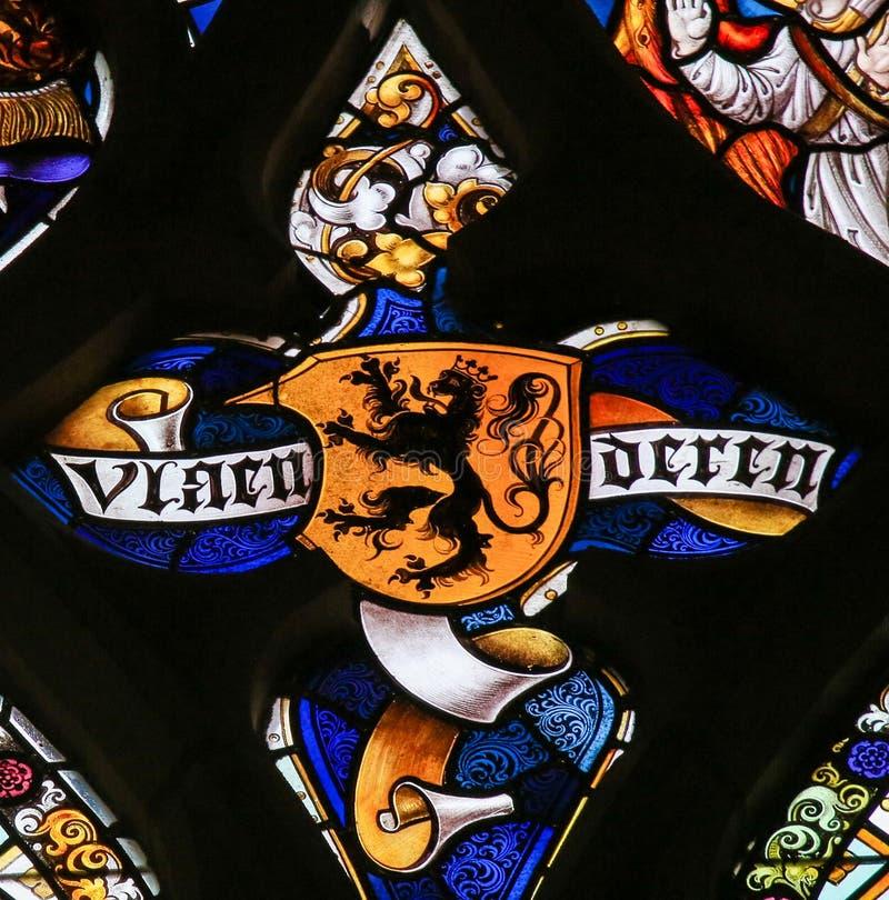 Цветное стекло - фламандский лев стоковые фото
