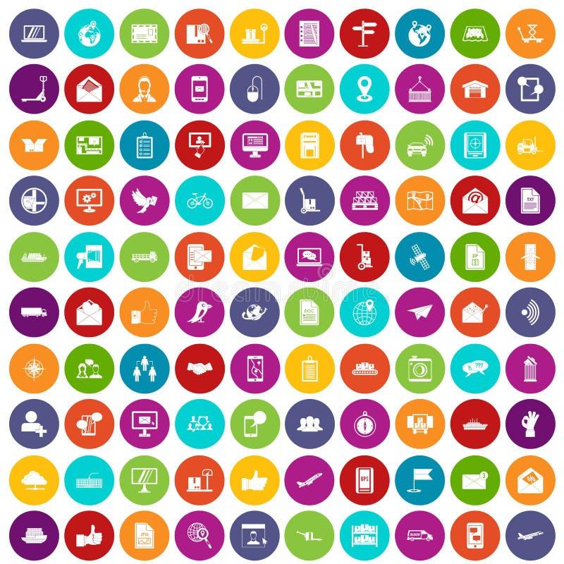 100 цветов столба и почты установленных значками бесплатная иллюстрация