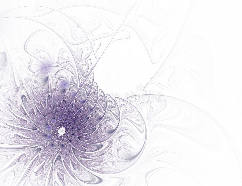 Цветок абстрактной фрактали фиолетовый на белой предпосылке стоковое изображение rf