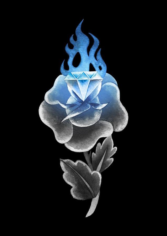 Цветок акварели и пламенеющий самоцвет иллюстрация штока