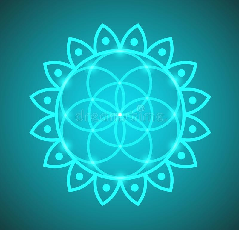 Цветок вектора геометрии жизни священной в иллюстрации цветка лотоса иллюстрация вектора