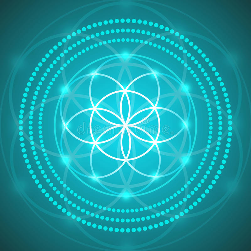 Цветок вектора накаляя иллюстрации символа жизни иллюстрация вектора